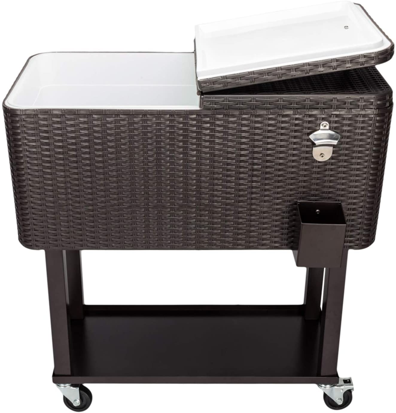 Outdoor Patio Rolling Cooler Cart/80QT Rattan Cooler with Square Legs & Shelf/Bar Drink Cooler Cart Ice Chest Cart Beverage Pool Tub Trolley/Brown