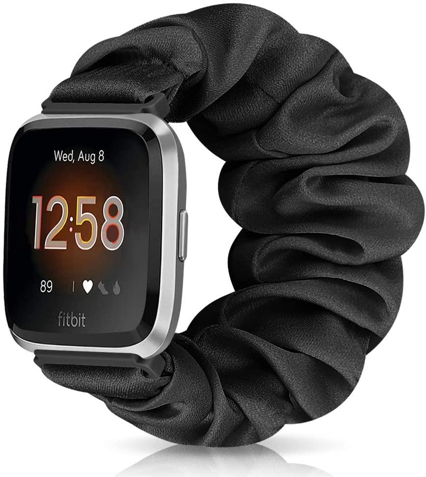 ShuYo Scrunchie Versa Watch Bands Compatible with Versa 2/ Versa/Versa Lite/SE/Versa Special,Soft Fabric Elastic Strap Replacement Wristband Accessories for Women Girls