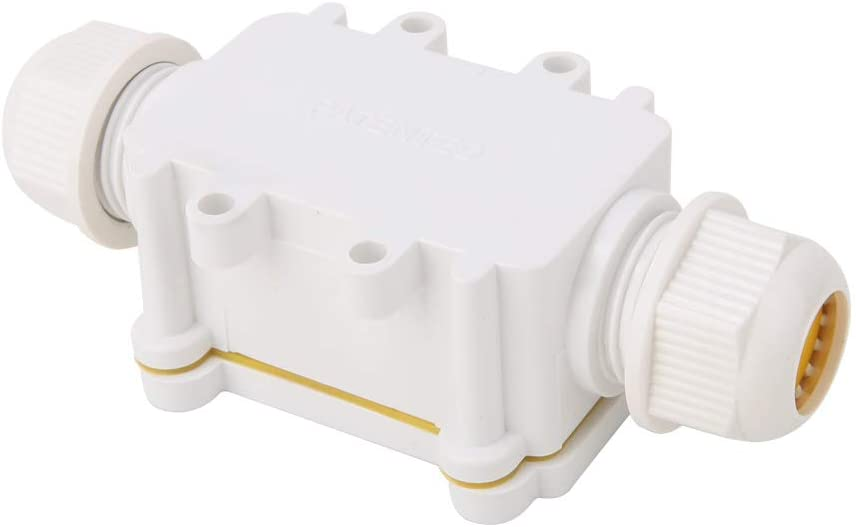 DERCLIVE ABS Plastic IP68 Waterproof Outdoor Dustproof Junction Box 2 Way Electrical Cable Connector Universal Electrical Project Enclosure 450V 24A,11.55.23.5cm / 4.532.051.38in,White