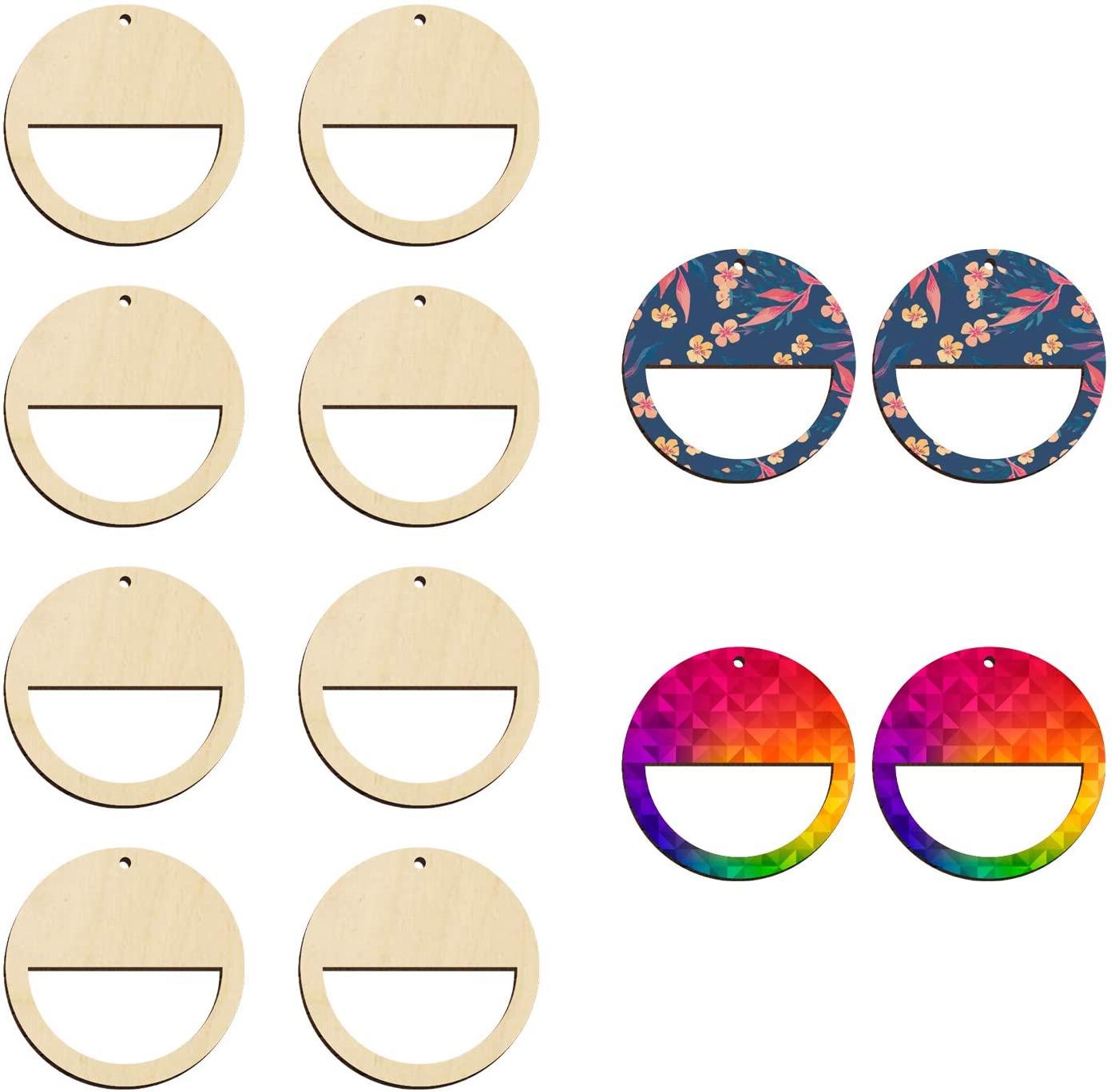 "Wood Circle Earring Blanks for Women Girls Unfinished Round Earrings for Jewelry Making Blank Earring Pendant Bulk DIY Lightweight Statement Dangle Earrings 2"" -36pcs"