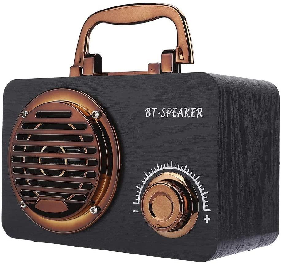 Speaker Box, Music Player, Bluetooth Vintage Speaker, Wood Portable for Computer,(Black Wood Grain)