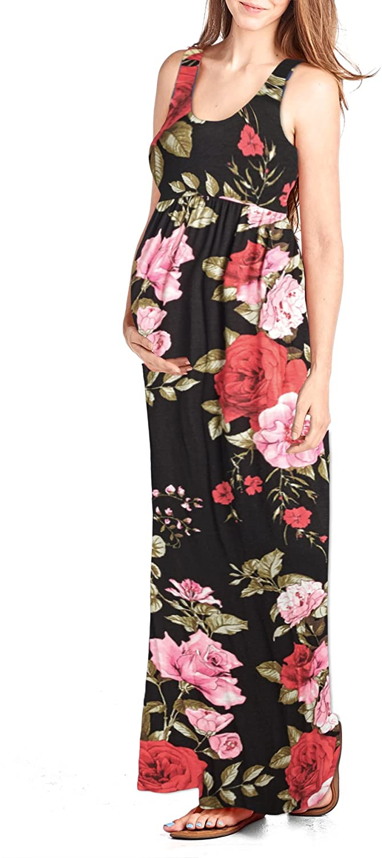 Beachcoco Women's Maternity Flower Printed Maxi Tank Dress (S, Multi 02 Black)