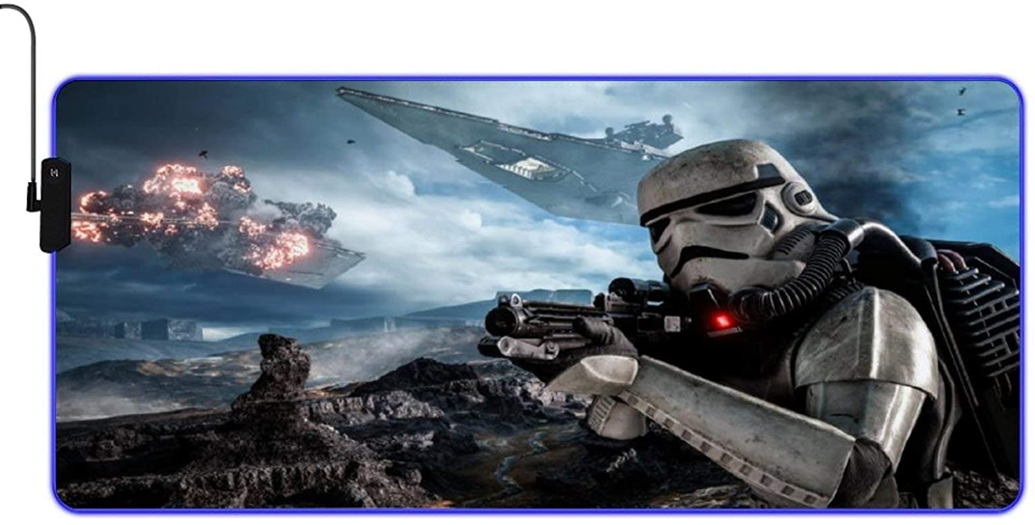 Super Large Waterproof Gaming Mouse Pad Soft Table Mat with 9-Color Dazzling Color Conversion