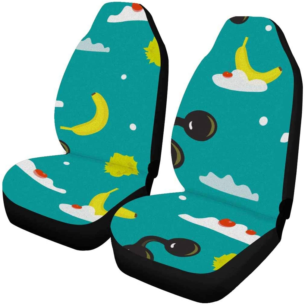 InterestPrint Truck Vehicle SUV Car Seat Covers Each Piece with Different Printing Bananas, Clouds and Glasses