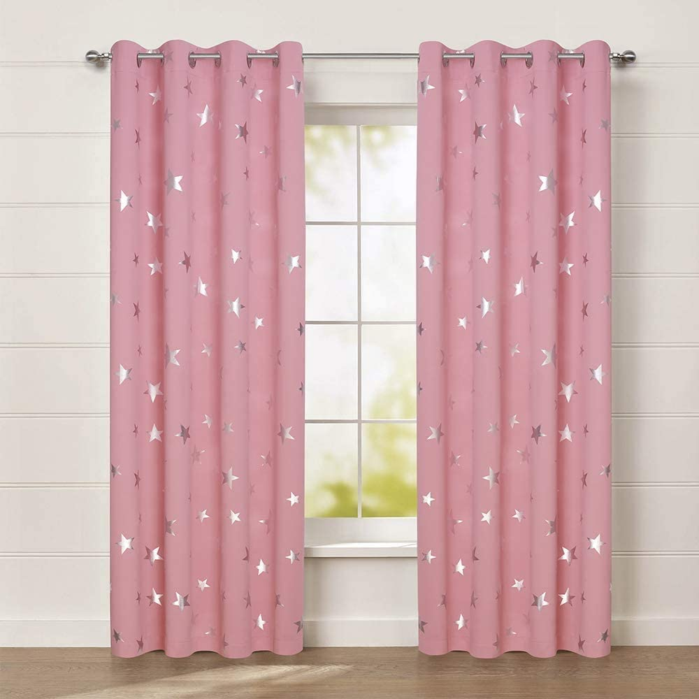 Anjee Kids Curtains for Girls Bedroom Foil Print Star Curtains for Room Darkening Nursery Blackout Curtains Window Drapes W38 x L72 inches 2 Panels Baby Pink