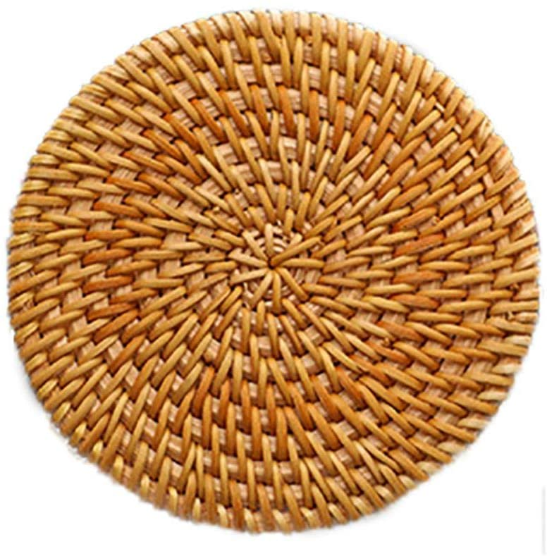 Ochine Home Creative Handmade Rattan Coaster Insulation Pads Dishes Dish Pads Placemats Tableware Anti-scalding Insulation Round Placemats