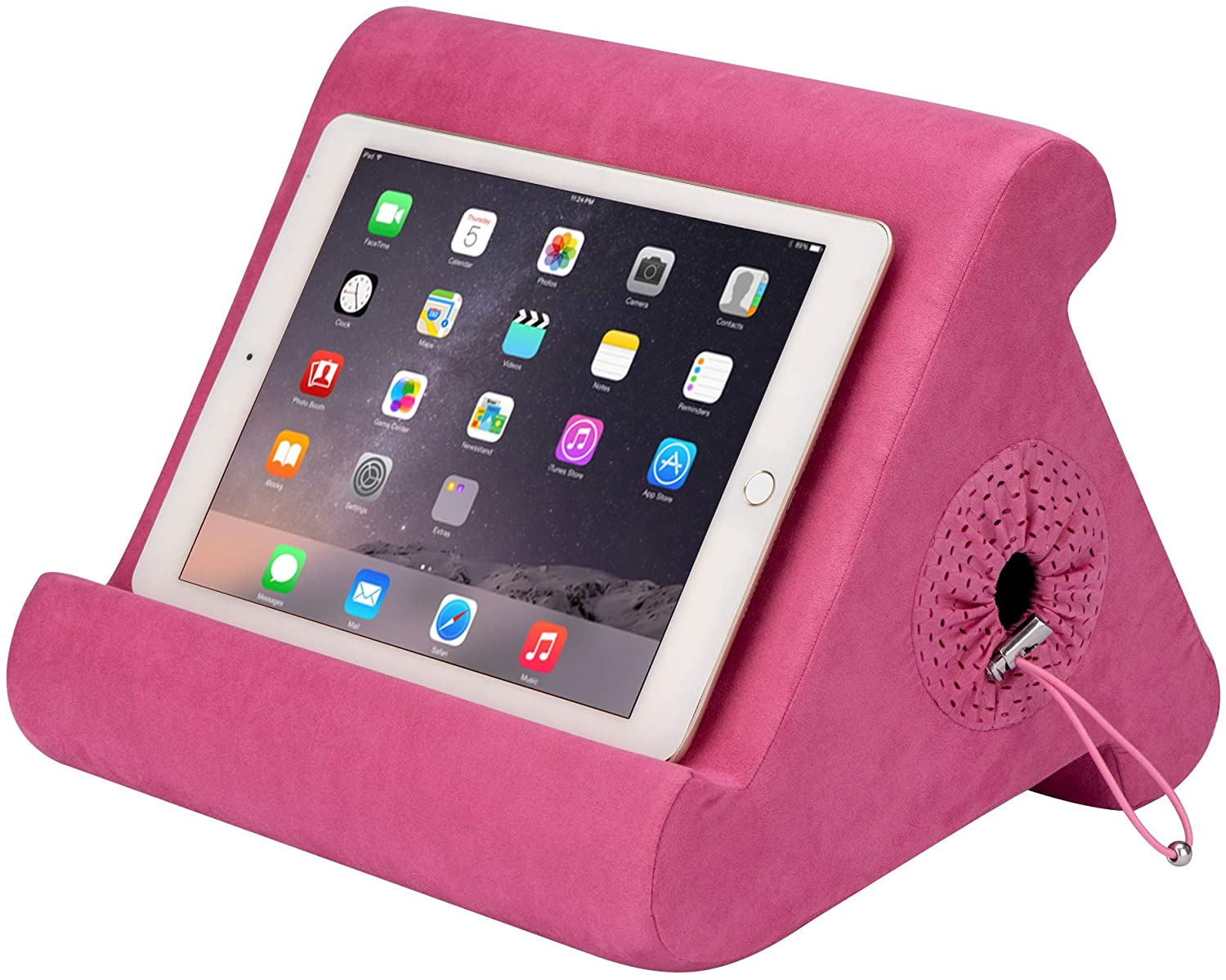 Flippy with New Storage Cubby Multi-Angle Soft Pillow Lap Stand for iPads, Tablets, eReaders, Smartphones, Books, Magazines (in The Pink Baby)