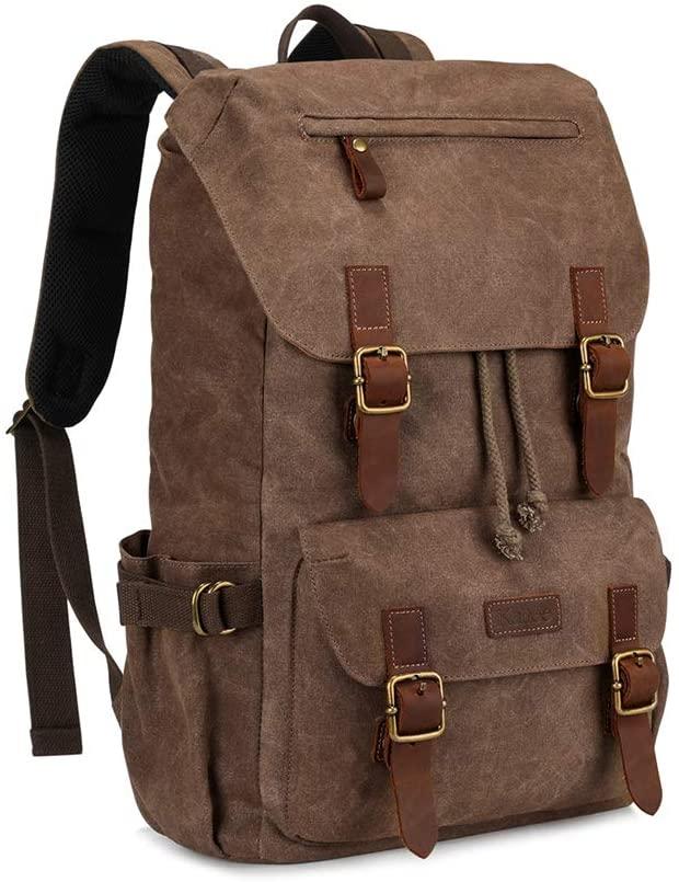 Kattee Mens Canvas Leather Hiking Backpack Travel Rucksack School Bag