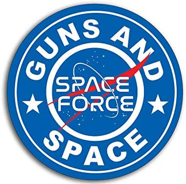 JR Studio 4x4 inch Round Guns and Space Sticker - Trump NASA Military Force Outer us Logo Vinyl Decal Sticker Car Waterproof Car Decal Bumper Sticker