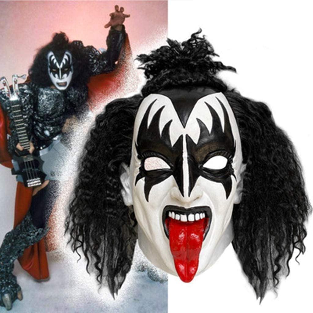 ddxx Men's Gene Simmons Mask Demon Clown with Wig, Music Festival Props Halloween Costume