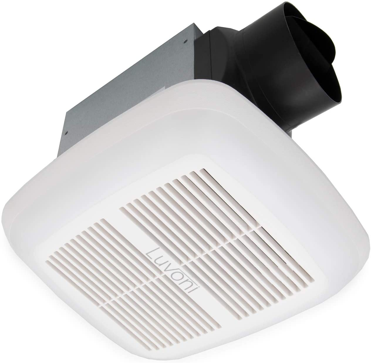Luvoni 80 CFM Bathroom Exhaust and Ventilation Fan with Light and Humidity Sensor, 1.5 Sones Quiet Operation, Ceiling Fan with Built in LED Light, White Grill, by Maxxima