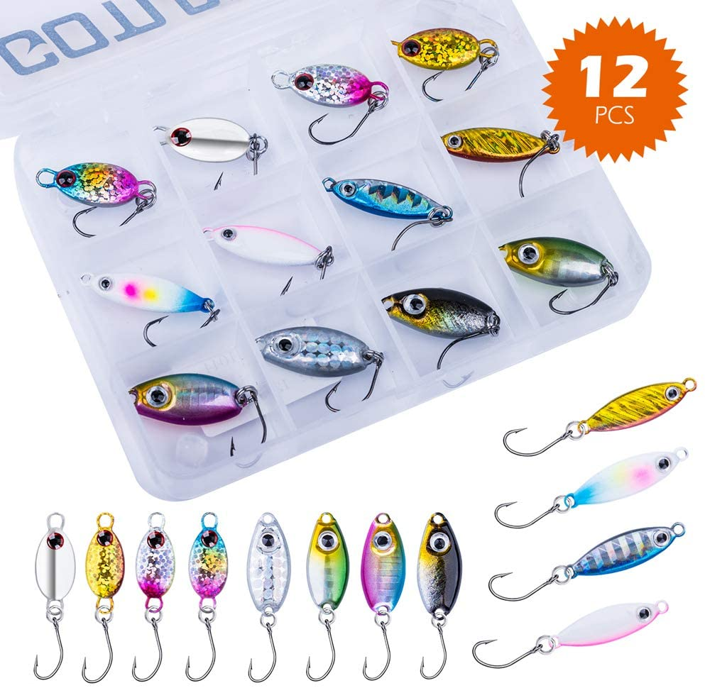 Goture Micro Ice Fishing Jigs Lures Mini Spoon Lures with 3D Eyes Double-Sided Laser Reflective Effect Jigging Bait for Crappie, Trout, Panfish, Perch