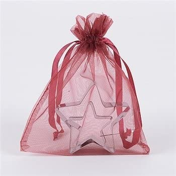 Organza Drawstring Gift Bag 8 x 12 inches 8x12 Quantity of 20 (Wine)