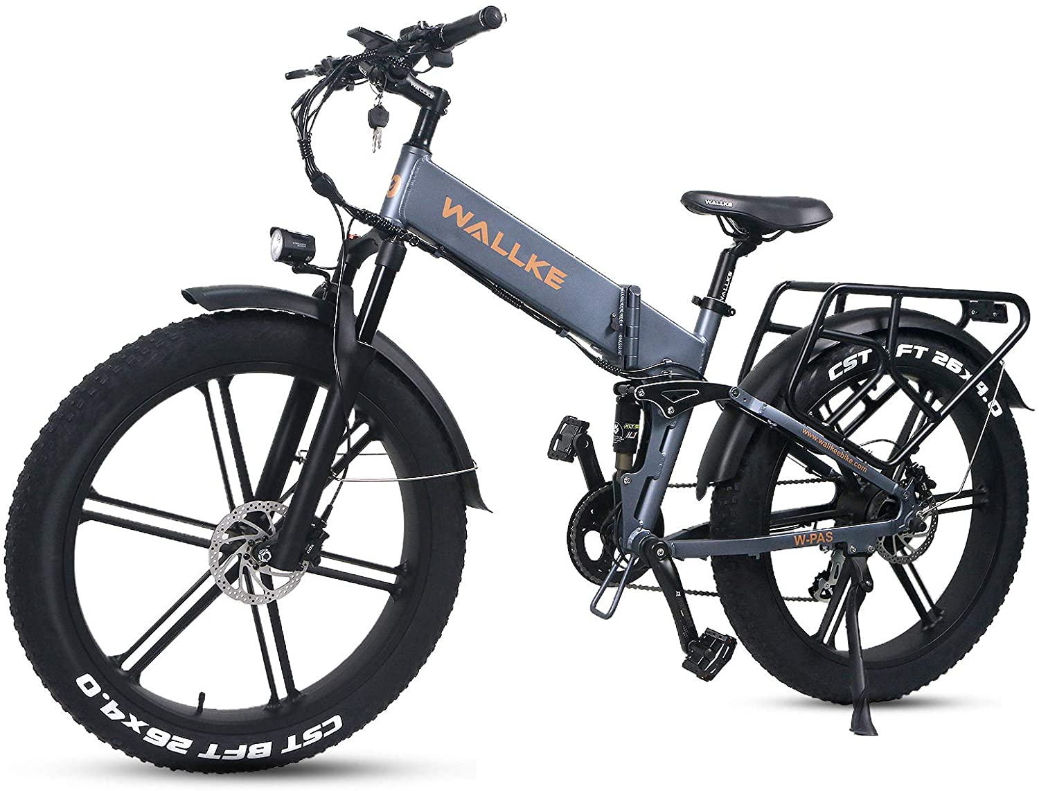 W Wallke X2 Pro Folding Electric Mountain Bike 26 Inch Fat Tire Ebike 750W Motor, 48V 11.6AH Samsung Removable Lithium Battery Bicycle, Seamless Welding Aluminum Alloy Frame