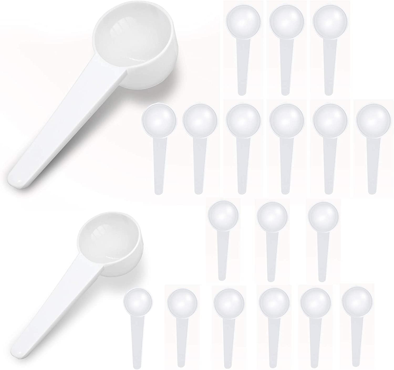 5ML Coffee Measuring Scoop (10 Pcs) + 10ML Teaspoon Tablespoon(10 PCS), Food Grade Reusable Plastic Measuring Spoon for Coffee, Milk Powder, Fruit Powder, Pet Food, Protein,Seed, Spices, Set of 20