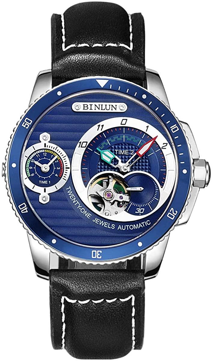 BINLUN Men's Waterproof Wrist Watch Unique Two Timer Automatic and Quartz Double Movement Blue Dial