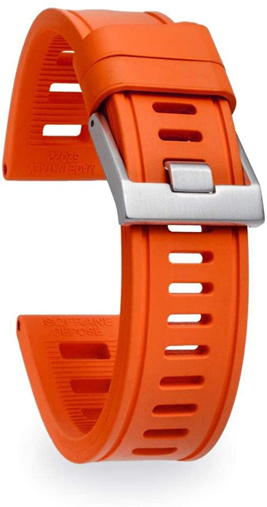 isofrane Rubber Watch Strap for Sports and Dive Watches (20mm, Orange)