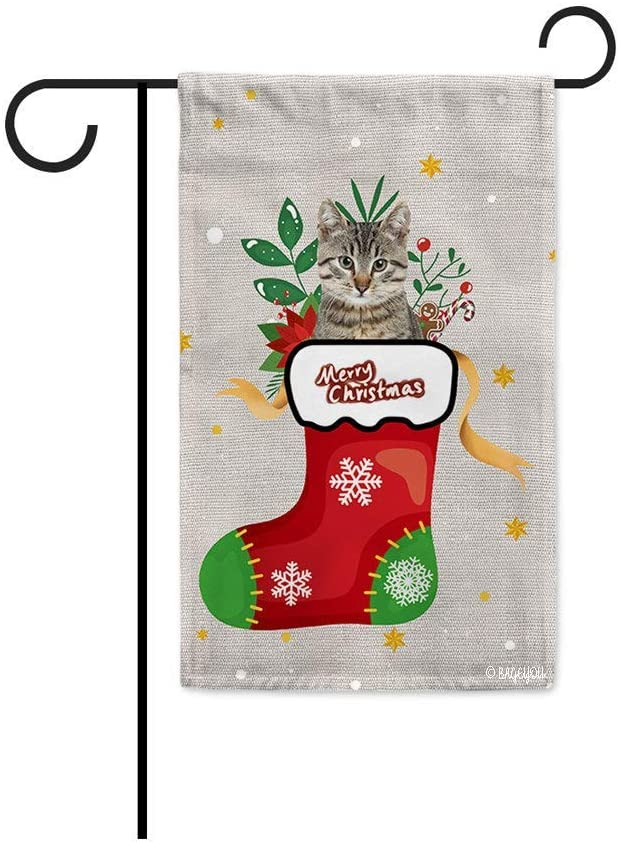 CLHK Merry Christmas with My Favorite Dog Garden Cat Hiding in Christmas Stocking Candy Cane Xmas Decor Home Banner for Outside 12.5x18 Inch Print Both Sides