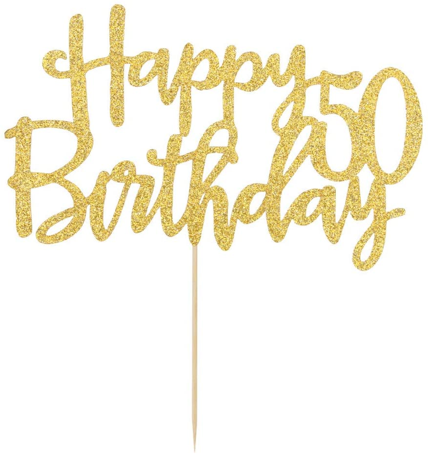 Double Sided Gold Glitter Happy 50th Birthday Cake Topper - Hello 50, Cheers to 50, 50 & Fabulous,Party Decoration
