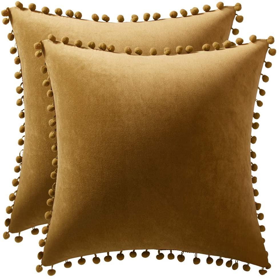DEZENE Throw Pillow Cases 20x20 Coffee: 2 Pack Cozy Soft Pom-poms Velvet Square Decorative Pillow Covers for Farmhouse Home Decor