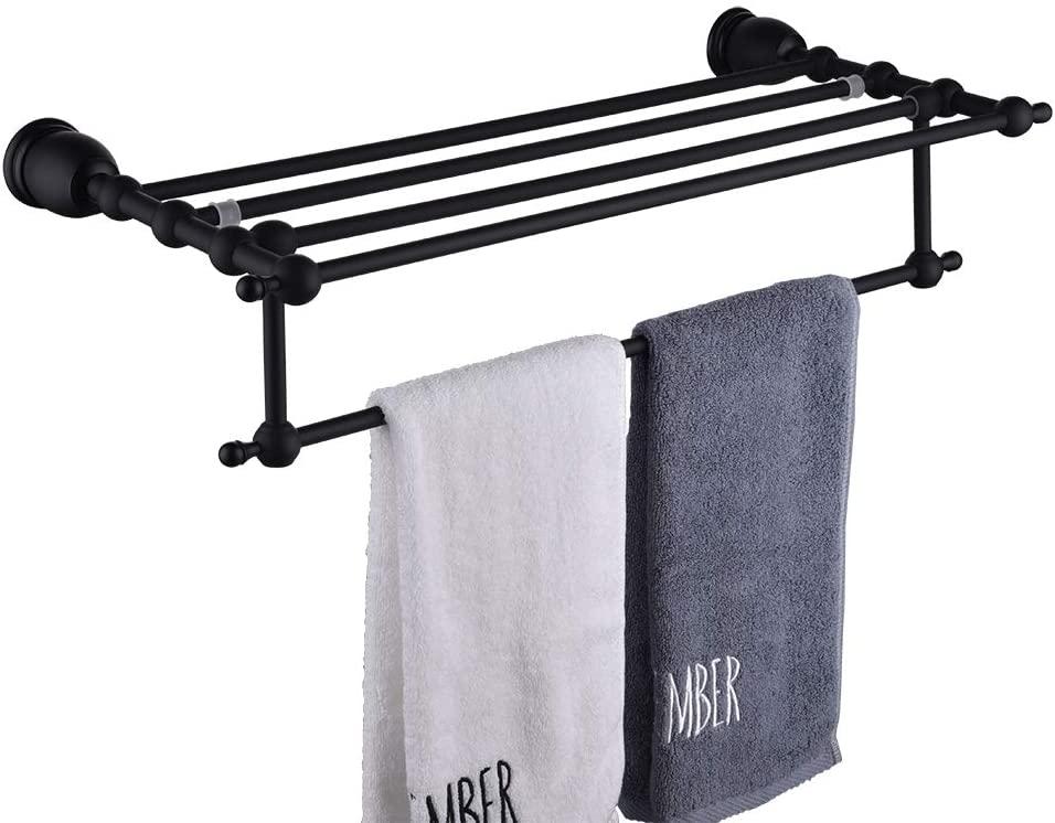 LANC Modern Towel Shelves Luxury Stylish Solid Brass Bathroom Towel Rack Holder Storage Hotel Style Heavy Duty Wall Mount, Black Finish, TM6212E