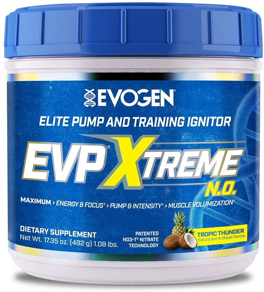 Evogen Nutrition EVP Xtreme NO | Arginine Nitrate, Beta-Alanine, Citrulline Pre-Workout, Nitric Oxide, Pumps | 40 Servings | Tropic Thunder
