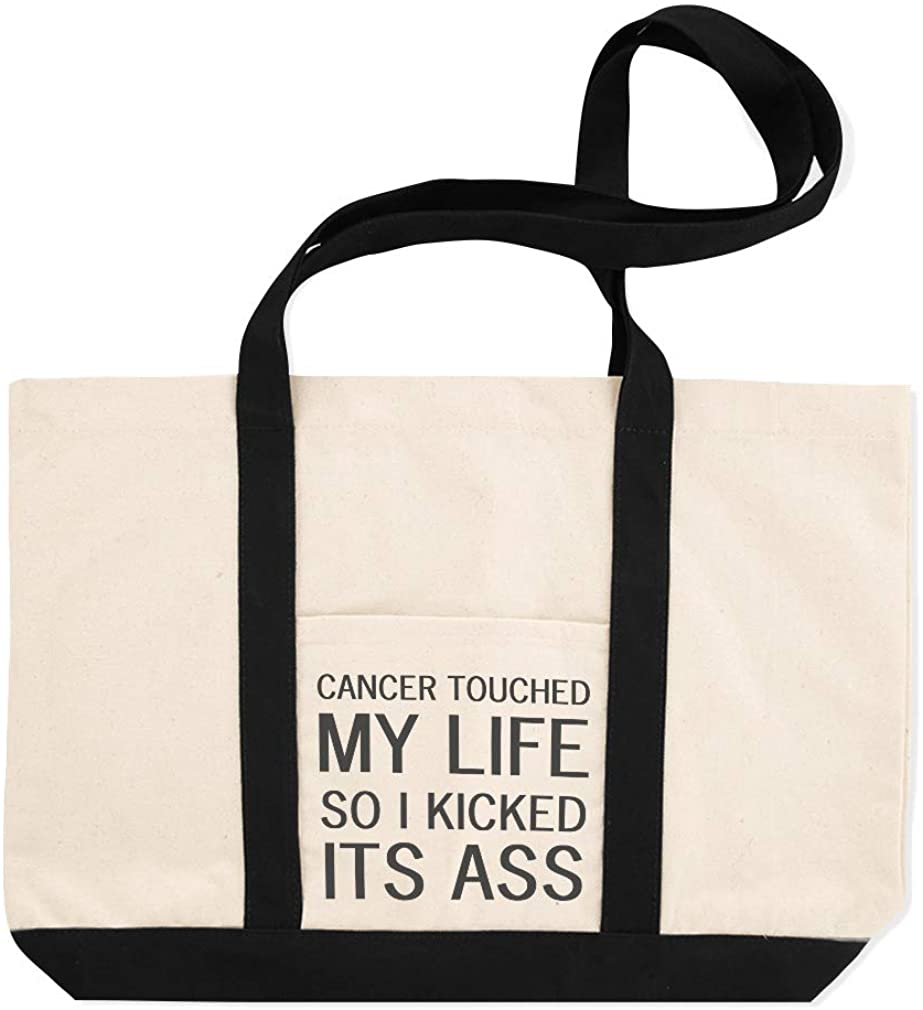 Canvas Shopping Tote Bag Cancer Touched My So I Kicked Its Ass Cancer in My Life Beach for Women