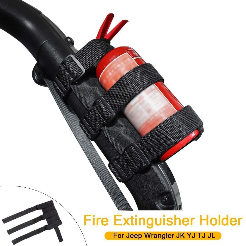 Universal Car Roll Bar Fire Extinguisher Holder Mount for Jeep Wrangler JK YJ TJ JL (Black)