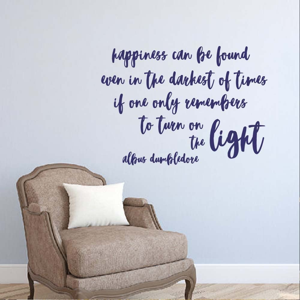 BATTOO Happiness Can Be Found Even in The Darkest of Time Vinyl Wall Decal Sticker Kids Room Wall Decal Quotes Baby Nursery Decor(Navy Blue, 40