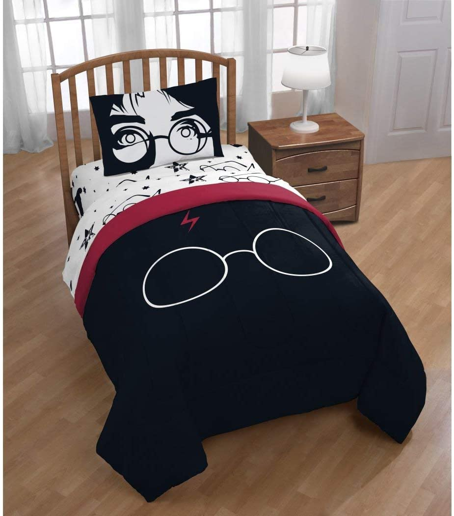 4 Piece Kids Black Red Harry Potter Comforter with Sheets Twin Set, White Potter Glasses Head Mark Print Bedding Kids Fun Magical Harry Potter Movie Themed Potterheads Fan, Solid Reversible, Polyester