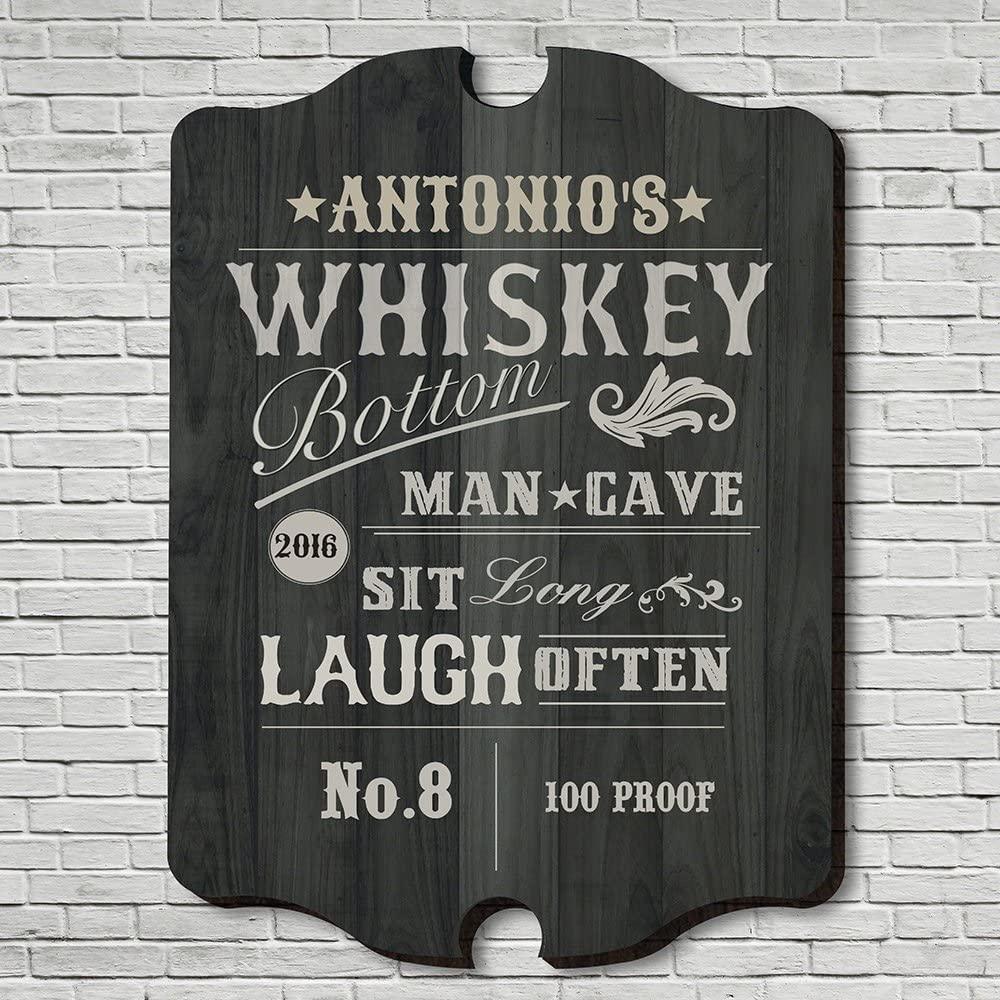 HomeWetBar Whiskey Bottom Personalized Bar Sign (Large 21