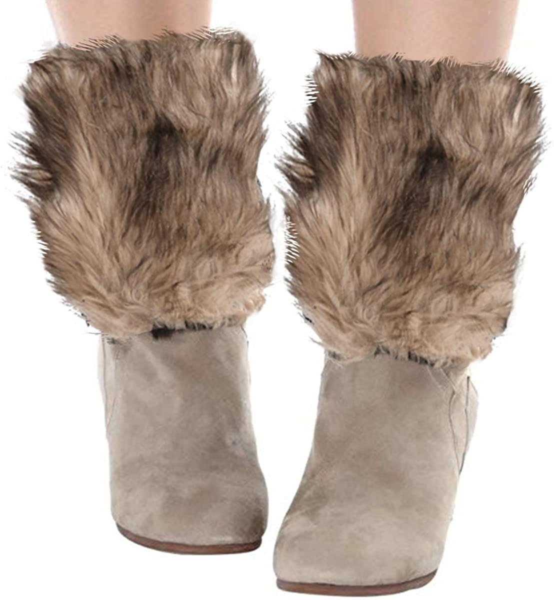 Womens Faux Fur Leg Warmer Boot Cuffs - Furry Leg Warmers