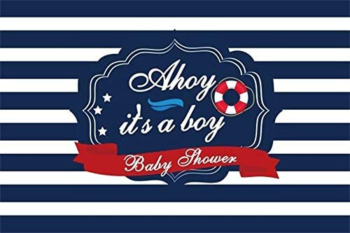 Baocicco 9x6ft Ahoy It's A Boy Baby Shower Photography Background Backdrop Blue and White Stripes Navigation Backdrop Three Stars Life Ring Boys Baby Shower Party Children Adults Photo Studio Props