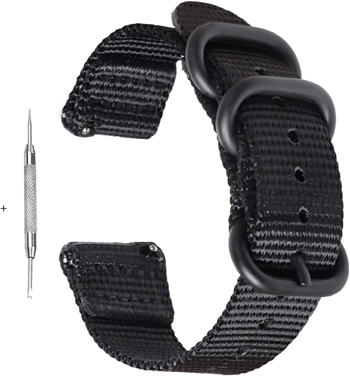 Zeit Diktator Watch Band Quick Release 18mm 20mm 22mm 24mm 26mm, Nylon Smart Watch Strap with Optional Colors (Black, 22mm)