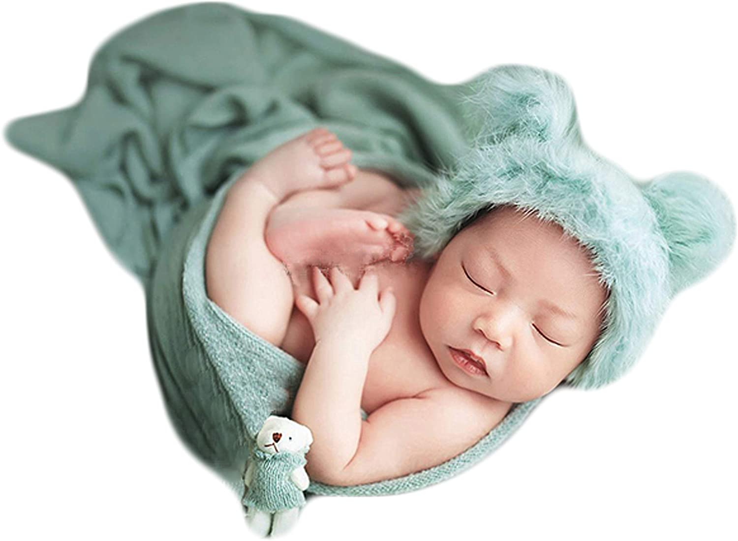 Zeroest Baby Photography Props Bear Hats Blanket Newborn Photo Shoot Outfits Infant Photos Hat Wrap (Green)