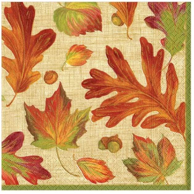 Caspari Linen Leaves Paper Cocktail Napkins in Natural - Two Packs of 20