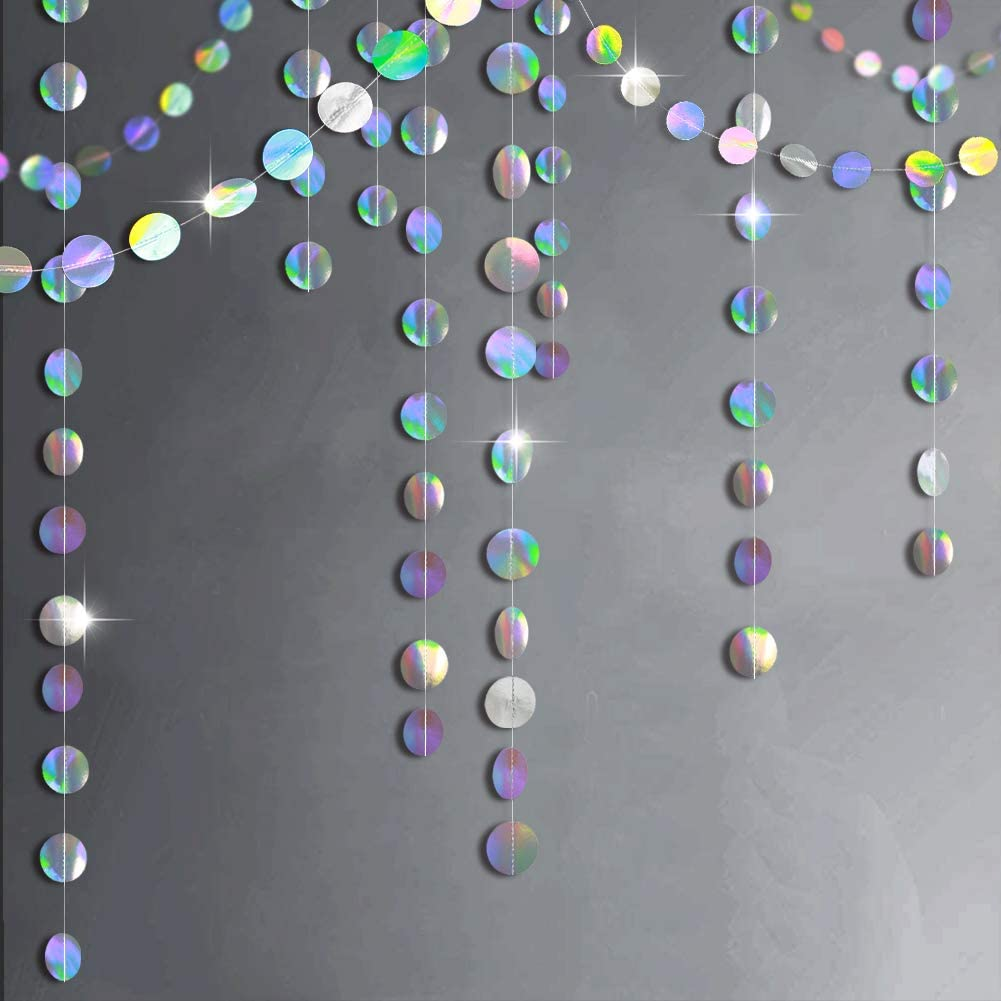 Glitter Iridescent Circle Dots Garland Paper Hanging Polk Dot Streamer Party Decoration Bunting Banner Backdrop for Birthday/Wedding/Baby Shower/Engagement/Bridal Shower Party Supplies