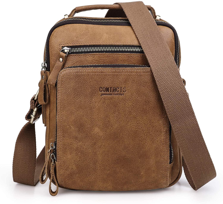 Contacts Real Leather Mens iPad Mini Tab Messenger CrossBody Tote Bag Handbag (Light Brown)