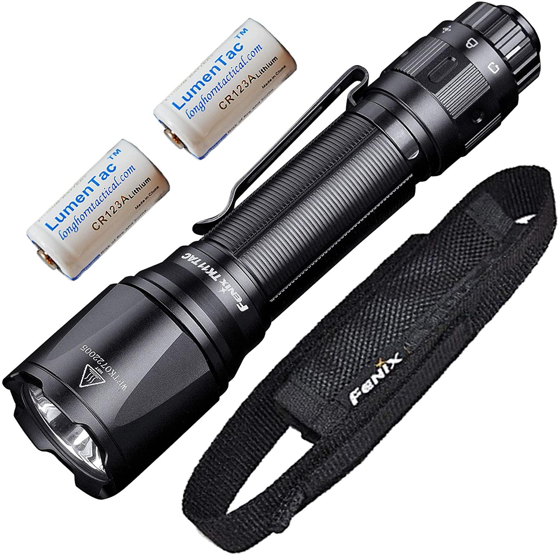 Fenix TK11 TAC 1600 Lumen 366 Yards Throw Tactical Flashlight with 2X LumenTac CR123A Batteries