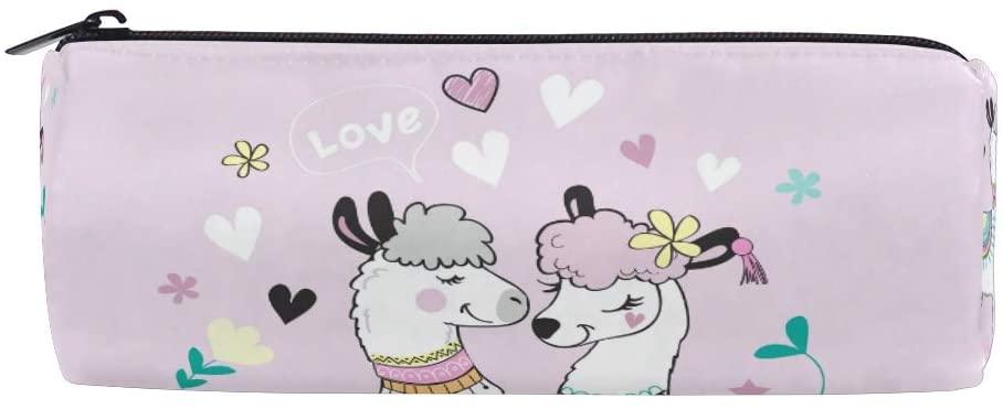Linomo Pencil Case Cute Lama Llama Alpaca Pencil Pen Bag Pouch Holder for Kids School Office