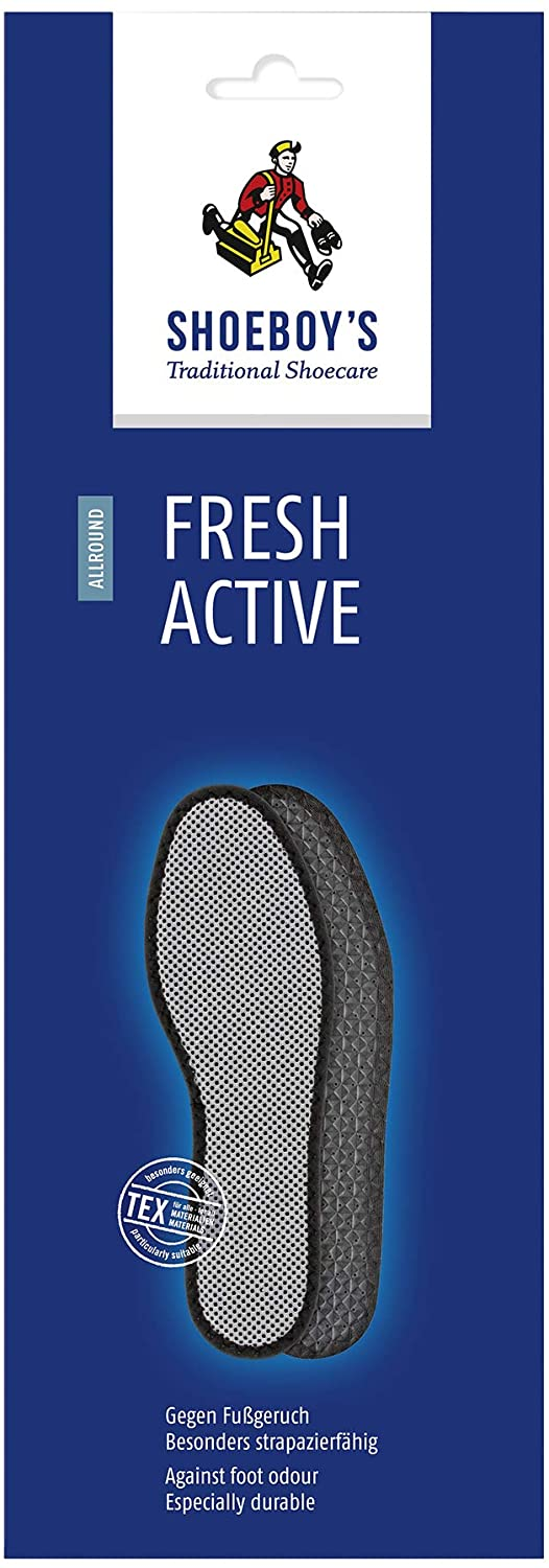 Shoeboy's Fresh Active Insoles - Activated Carbon Filter, Absorbs Foot Odor, Breathable Padded Polyester Fabric, Anti Slip - US Women's 5.5, UK 3.5/4 (EU 36) - (Pack of 1)