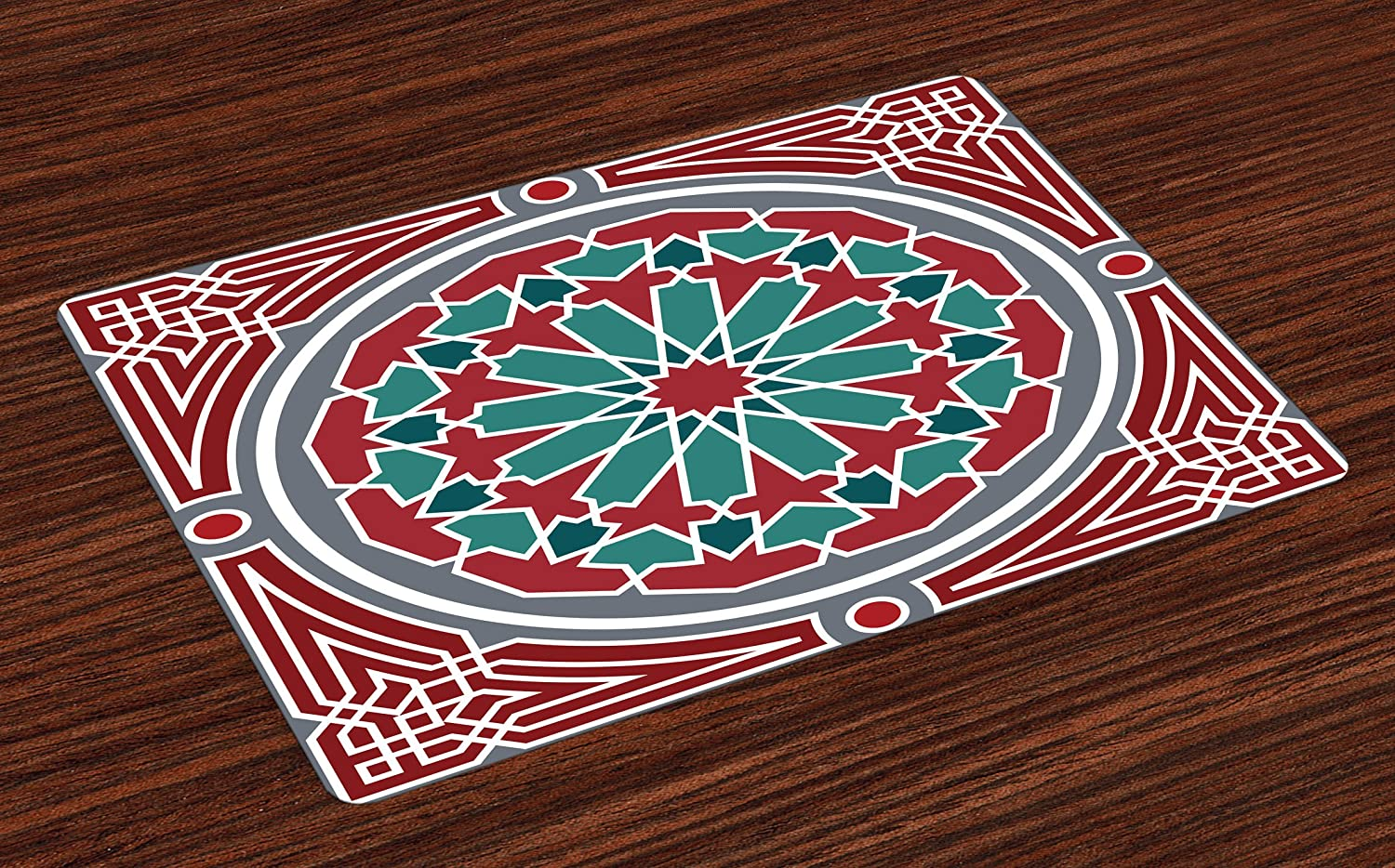 Lunarable Orient Place Mats Set of 4, Oriental Original Old Style Ornate Persian Pattern with Victorian Vintage, Washable Fabric Placemats for Dining Room Kitchen Table Decor, Red Grey Teal