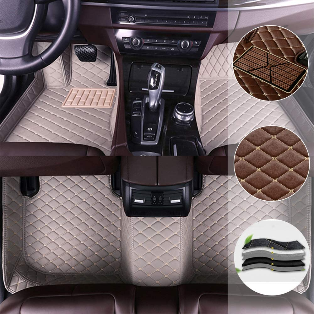 saitake Car Floor Mats for Mitsubishi Lancer 2009-2017 Full Coverage Liner All Weather Front and Rear Floor Mats Waterpoof Non-Slip PU Leather Pad Left Drive Gray
