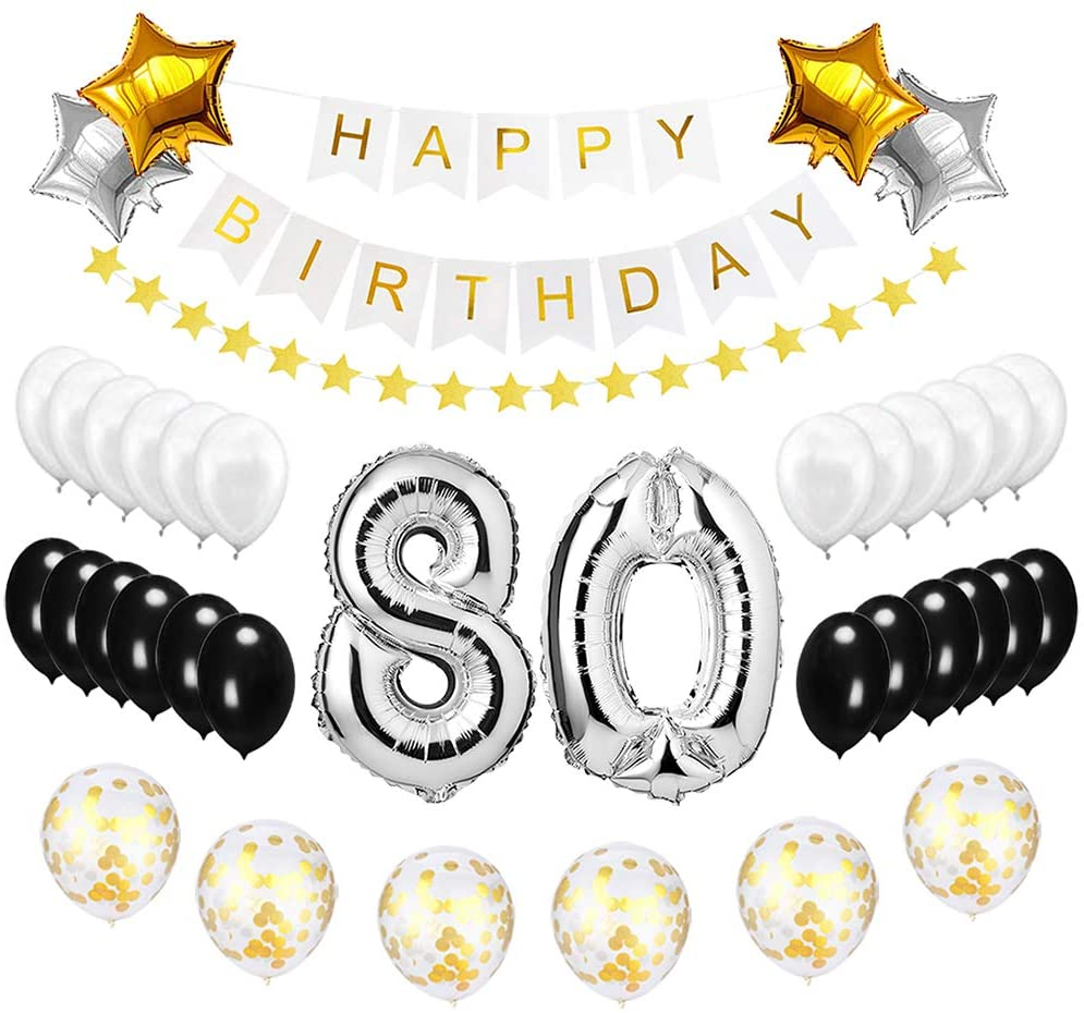 Happy to 80th Birthday Balloons Silver Set - Birthday Theme Decorations for 80 Years Old Party Supplies