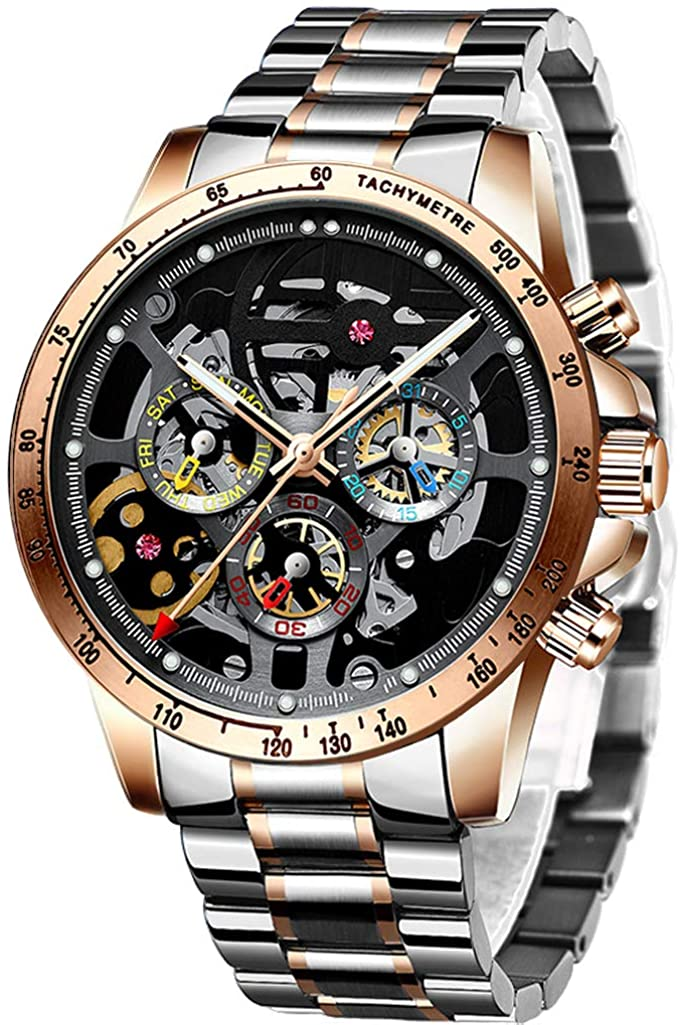 HAIQIN Men's Skeleton Automatic Watches for Men Stainless Steel Band Waterproof Sport Black Face Watch with Ruby and Unique Three-Color Small Dial…