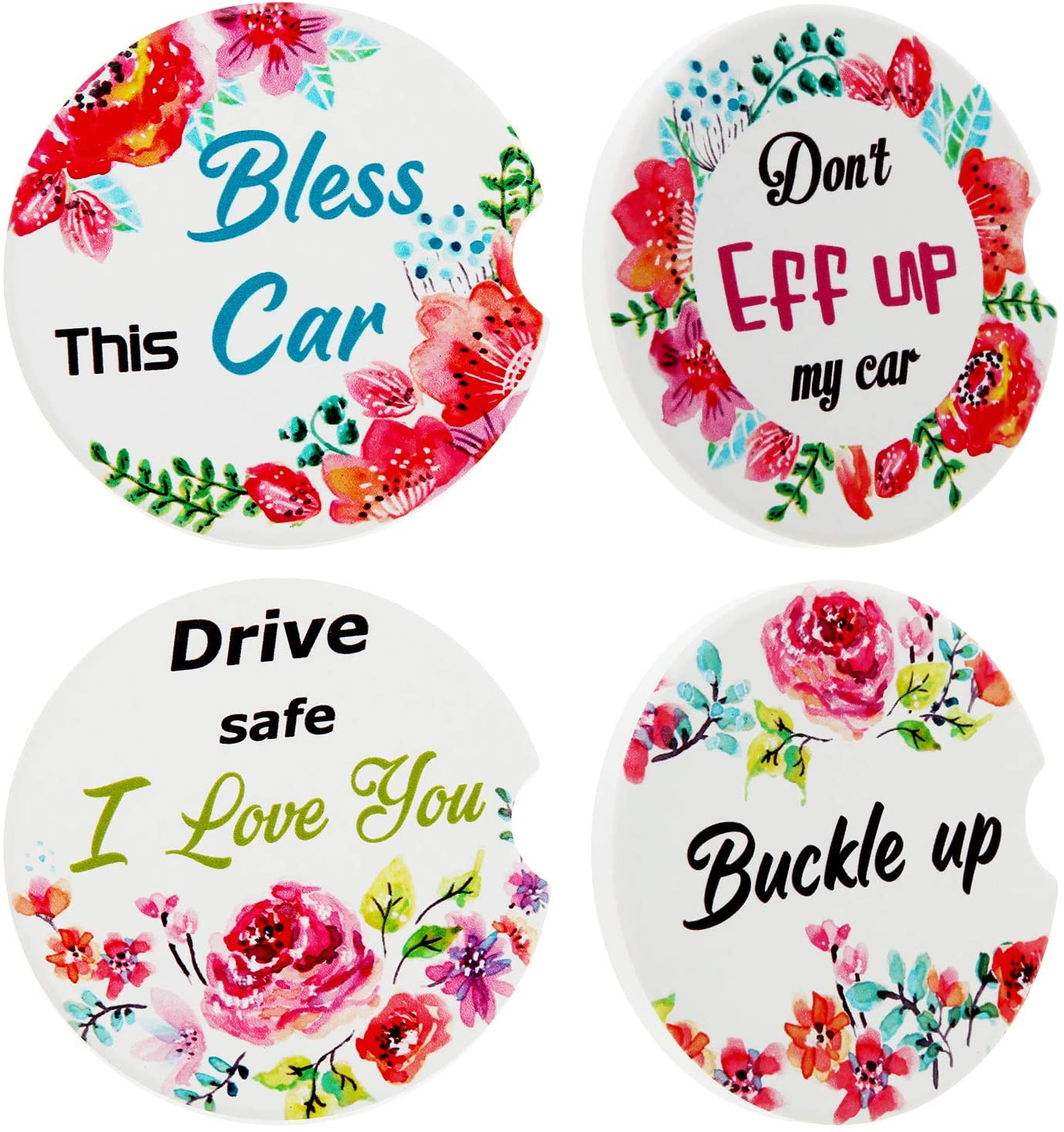 4 Pieces Car Cup Holder Coasters Floral Style Car Coasters Absorbent Ceramic Cup Holders Funny Cup Coasters for Keeping Car Cup Holders Dry and Clean Home Supplies, 2.56 Inch