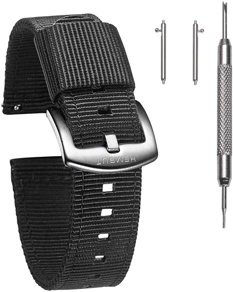 Torbollo Quick Release Watch Bands - Choice of Color, Width (18mm, 20mm, 22mm or 24mm) - Watch Straps, Quality Nylon Strap and Heavy Duty Brushed Buckle