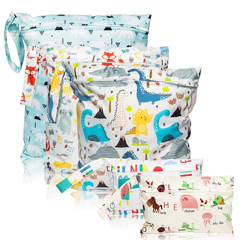 5 Pcs Waterproof Reusable Wet Bag Diaper Baby Cloth Diaper Wet Dry Bags with 2 Zippered Pockets Travel Beach Pool Bag with Polar Bear Dinosaur Animal Alphabet Crocodile Pattern (3 Sizes)