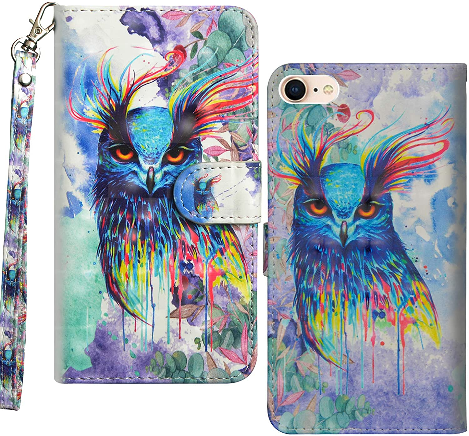 SZYZ iPhone SE 2020 Wallet Case,iPhone 7 Case, iPhone 8 Case 3D Painting Leather Flip Kickstand Case with Magnetic Closure and Card Slots Holder Cover for iPhone SE2020/7/8,Owl Painting