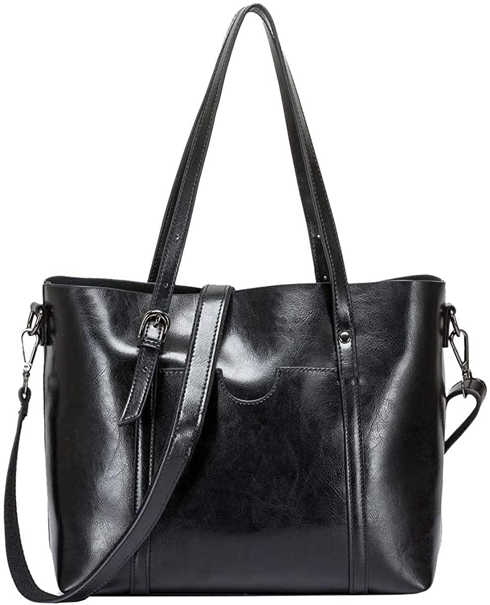 Tippnox Women Vintage Genuine Leather Tote Shoulder Bag Hobo Handbag Shoulder Bucket Bag w/Adjustable Handles